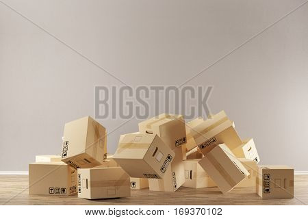 Many moving boxes falling on floor during relocation (3D Rendering)