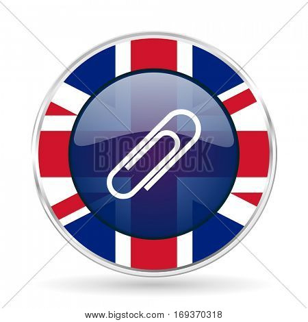 paperclip british design icon - round silver metallic border button with Great Britain flag