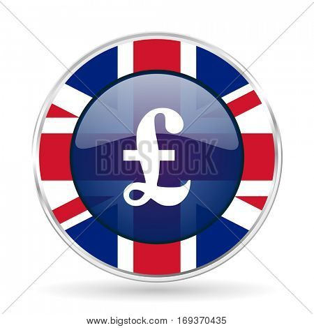 pound british design icon - round silver metallic border button with Great Britain flag