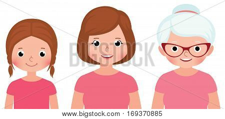 Woman three different stages of childhood ages maturity and old age Stock vector illustration
