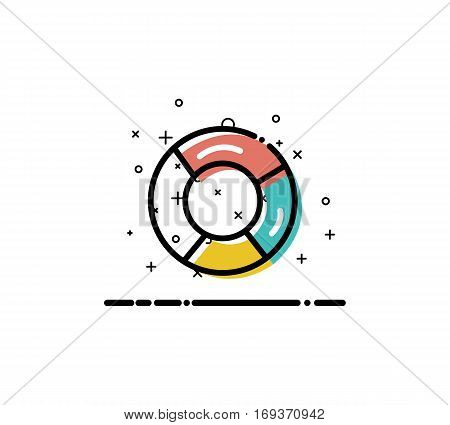 Chart  icon. Single high quality outline symbol for web design or mobile app. Thin line sign for design logo. Color line symbol on white background