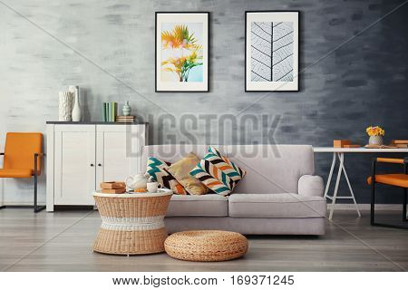 Modern living room with sofa and furniture