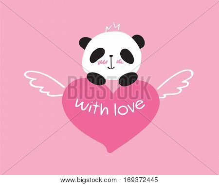 Greeting card for Valentine's Day, birthday, Mother's Day, wedding with cute panda and heart. Doodles, sketch for your design. Vector illustration.