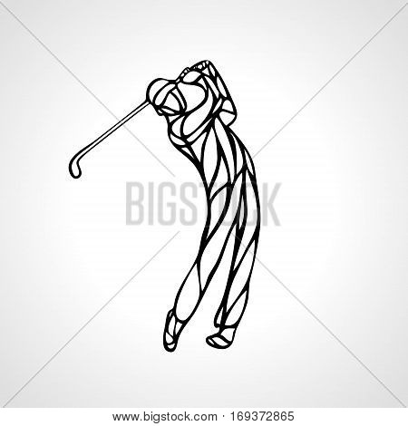 Golf Sport Silhouette of Golfer finished hitting Tee-shot. Outline vector eps 8