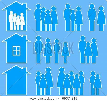 set of icons with people images and house silhouette