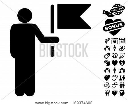 Commander With Flag icon with bonus lovely images. Vector illustration style is flat iconic black symbols on white background.