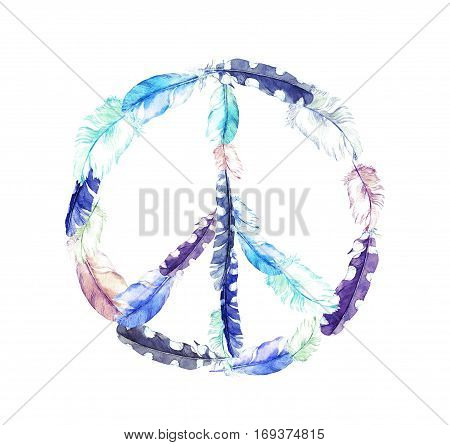Peace sign with bird feathers. Vintage watercolor