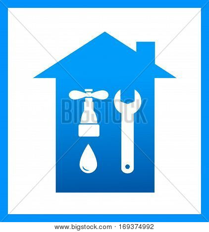 Icon With Plumbing Faucet And Wrench