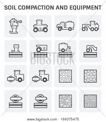Vector icon of soil compaction and equipment for construction work.