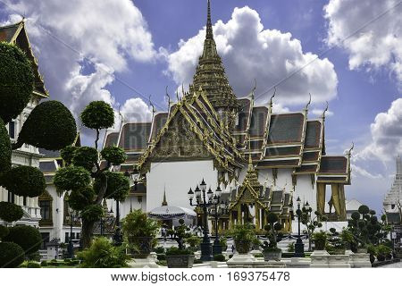 The complex of Grand Palace in Bangkok. It served as the official residence of Thai Kings at the end of the XIX century. (January 2017 Thailand)