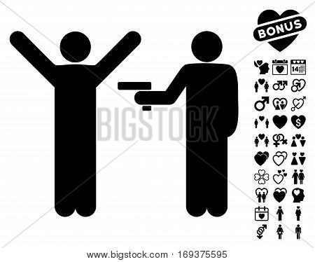 Crime Robbery pictograph with bonus dating pictograph collection. Vector illustration style is flat iconic black symbols on white background.