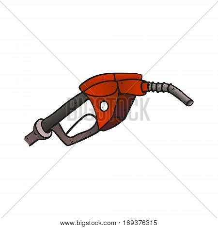 close up of a gas station icon - gray and colored red vector illustration