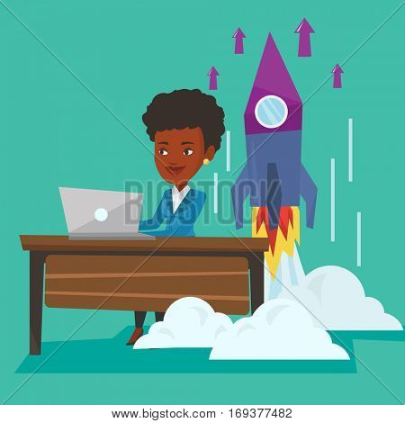 Young african-american businesswoman working on new business start up and business start up rocket taking off behind her. Business start up concept. Vector flat design illustration. Square layout.