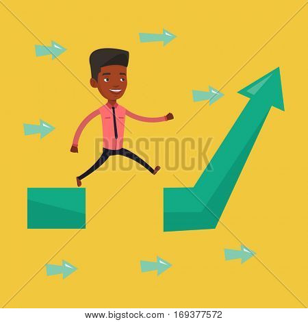 Young businessman facing with business obstacle. An african-american businessman coping with business obstacle successfully. Business obstacle concept. Vector flat design illustration. Square layout.