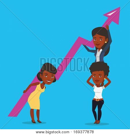 Three african-american business women holding growth graph. Cheerful business team with growth graph. Concept of business growth and teamwork. Vector flat design illustration. Square layout.