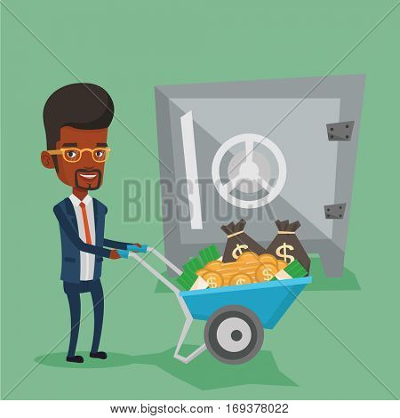 Rich businessman depositing his money in bank in the safe. An african-american businessman pushing wheelbarrow full of money on the background of safe. Vector flat design illustration. Square layout.