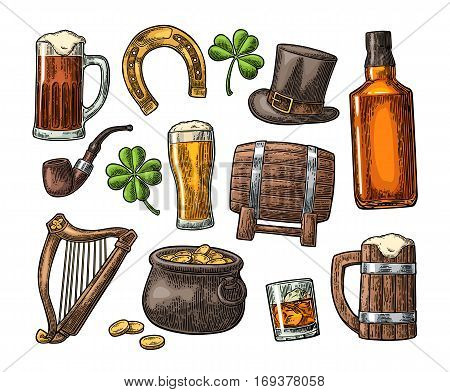 Saint Patrick s Day. Top gentleman hat, Pot of gold coins, whiskey, smoking pipe, beer glass, lyre, horseshoe, clover, barrel. Vector vintage color engraved illustration. Isolated on white background.