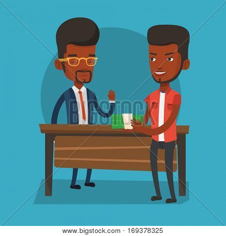 An african-american young businessman giving a bribe. Uncorrupted businessman refusing to take a bribe. Bribery and corruption concept. Vector flat design illustration. Square layout.