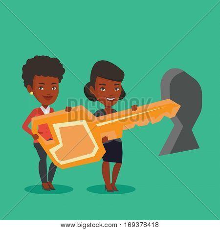 African-american business women standing in front of a keyhole with big key. Business team holding the key to success. Two business women carrying key. Vector flat design illustration. Square layout.