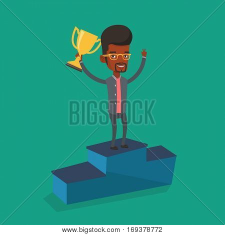 An african-american happy businessman with business award standing on a pedestal. Businessman celebrating his business award. Business award concept. Vector flat design illustration. Square layout.