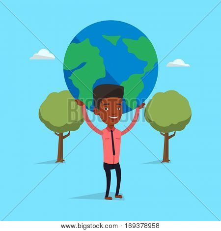 An african-american businessman holding big Earth globe over his head. Happy businessman taking part in global business. Concept of global business. Vector flat design illustration. Square layout.