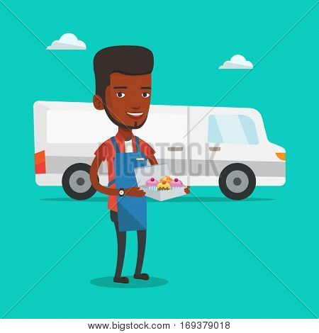 An african-american delivery man holding a box of cakes. Baker delivering cakes. Young man with cupcakes standing on the background of delivery truck. Vector flat design illustration. Square layout.