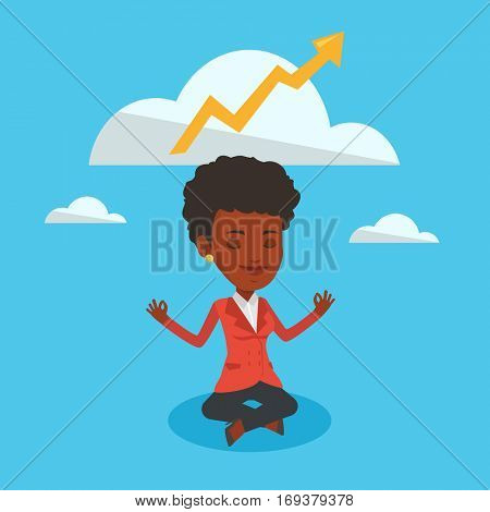 An african-american business woman doing yoga in lotus position and thinking about the growth graph. Business woman meditating in yoga lotus position. Vector flat design illustration. Square layout.