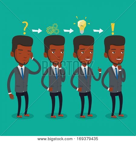 Young businessman during business planning. An african-american businessman working on a new business plan. Business planning concept. Vector flat design illustration. Square layout.