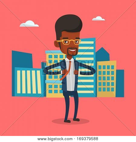 Businessman opening his jacket like superhero. An african businessman superhero. Businessman taking off his jacket like superhero on city background. Vector flat design illustration. Square layout.