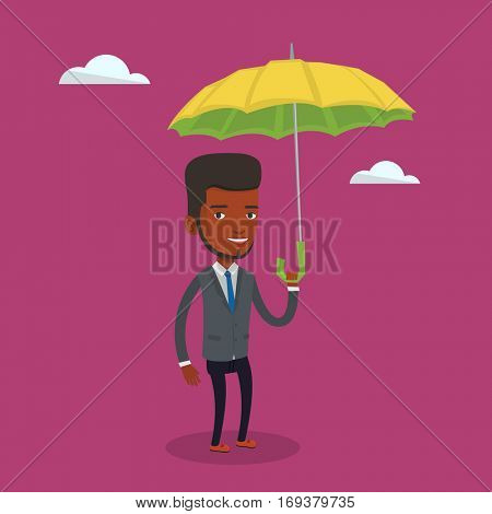 An african-american cheerful insurance agent. Insurance agent standing safely under umbrella. Business insurance and business protection concept. Vector flat design illustration. Square layout.