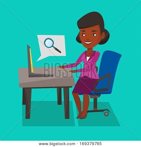 An african-american young business wpman working on her laptop in office and searching information on internet. Internet search and job search concept. Vector flat design illustration. Square layout.