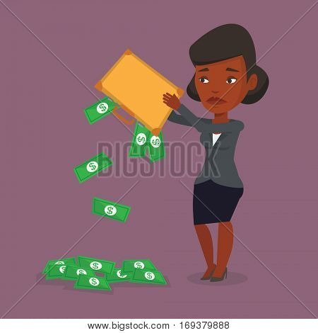 Depressed african-american bankrupt shaking out money from his briefcase. Despaired bankrupt business woman emptying a briefcase. Bankruptcy concept. Vector flat design illustration. Square layout. poster