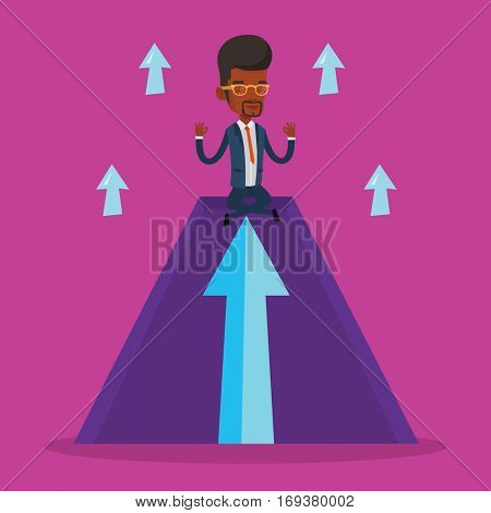 African-american businessman doing yoga on a mountain with arrow going up. Man meditating in yoga lotus pose. Man sitting in yoga lotus pose on mountain. Vector flat design illustration. Square layout