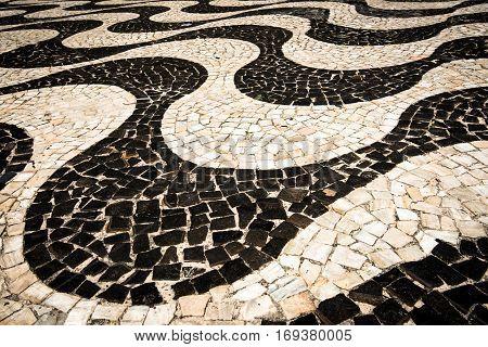 Famous Copacabana Sidewalk Mosaic in Rio de Janeiro
