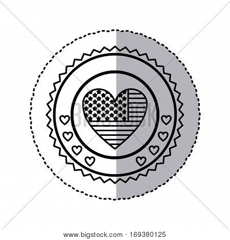 monochrome silhouette sticker with united states flag in shape of heart in round frame with hearts vector illustration