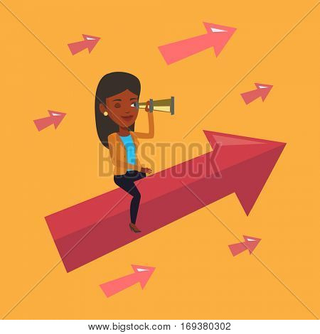 An african business woman searching for opportunities. Business woman using spyglass for searching of opportunities. Business opportunities concept. Vector flat design illustration. Square layout.