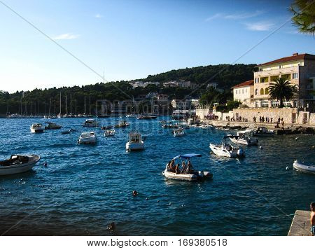 A nice view of the harbour in Hvar island, Croatia