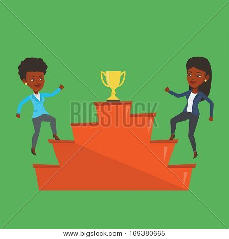 An african business women competing to get golden trophy. Two competitive business women running up for the winner cup. Business competition concept. Vector flat design illustration. Square layout.