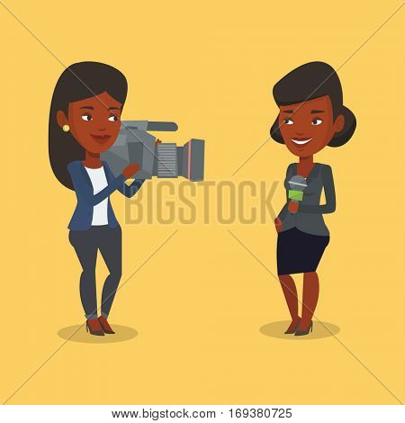 An african-american female reporter with microphone presenting the news. Young operator filming reporter. Reporter and operator recording the news. Vector flat design illustration. Square layout.