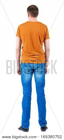 Back view of young men in  orange t-shirt.  Guy  looks away. Rear view. Isolated over white background.