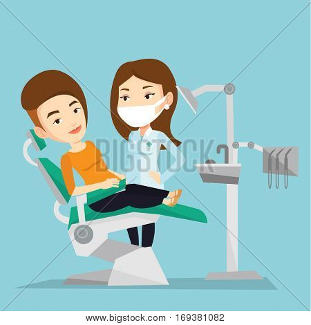 Caucasian woman sitting in dental chair while dentist standing nearby. Doctor and patient in the dental clinic. Patient on reception at the dentist. Vector flat design illustration. Square layout.