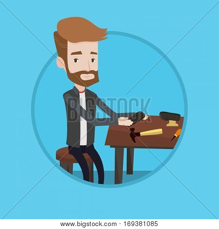 Shoemaker working with a shoe in workshop. Shoemaker repairing a shoe in workshop. Shoemaker making handmade shoes at workshop. Vector flat design illustration in the circle isolated on background.