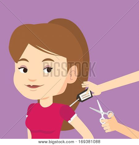 Woman removing price tag off new t-shirt. Young caucasian woman cutting price tag off new clothes with scissors. Happy woman shopping at clothes store. Vector flat design illustration. Square layout.