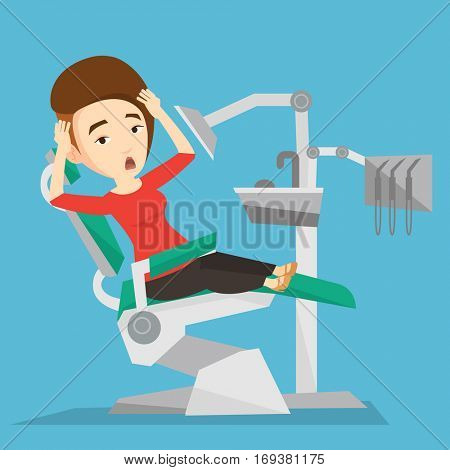 Frightened caucasian patient at dentist office. Scared young woman in dental clinic. Woman visiting dentist. Afraid woman sitting in dental chair. Vector flat design illustration. Square layout.
