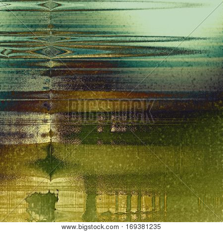 Sharp textured background, aged vintage backdrop with grungy style elements and different color patterns: yellow (beige); brown; green; blue; gray; cyan