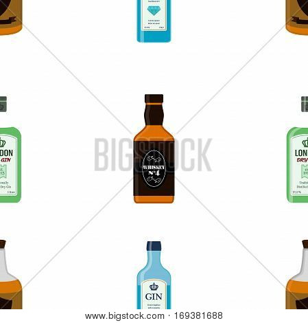 Alcohol bottles seamless pattern. Alcohol drink flat style design. Vector illustration. Rum, whiskey, brandy, liquor for pubs, restaurants, hipster bars