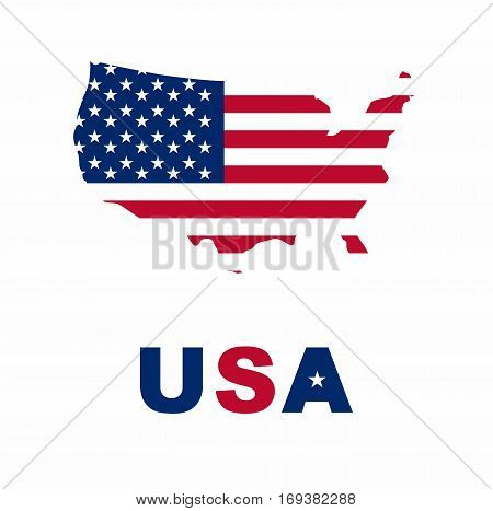 North America in the flag colors. United states of america flag