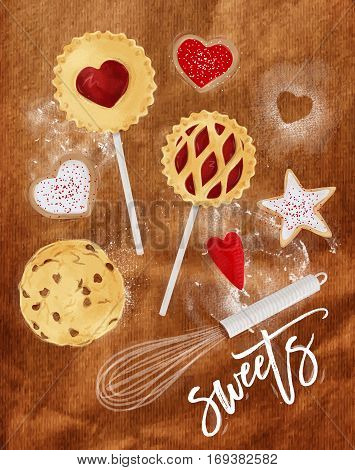 Poster sweets with illustrated star pie cookie egg whisk rolling pin in retro style lettering sweets drawing on craft background