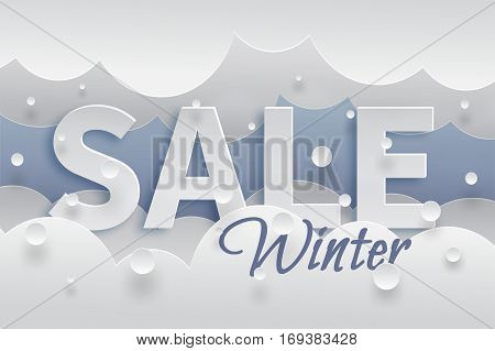 Winter sale banner template with white snow and clouds, text with shadows on blue background. Vector illustration made in paper cut out style
