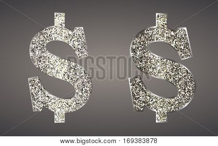 Jewelry in form of dollars on dark background. Icon USA currency from of silver, platinum, gold with sparkle. Symbolize  luxury, success, can be used in jewelry promotion, web design, etc. Vector.